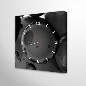 Das Bild Wird Geladen Wanduhr Modernes Design Wohnzimmer Leinwanduhr Schwarz Deko Holz
