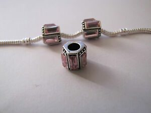 2-x-SILVER-BAGUETTE-SPACERS-WITH-PINK-RHINESTONES-EUROPEAN-STYLE-CHARM-BRACELETS
