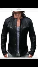 MEN's All Saints Rebell Nero Pelle Stile Biker Giacca taglia L rrp £ 295-Slim Fit