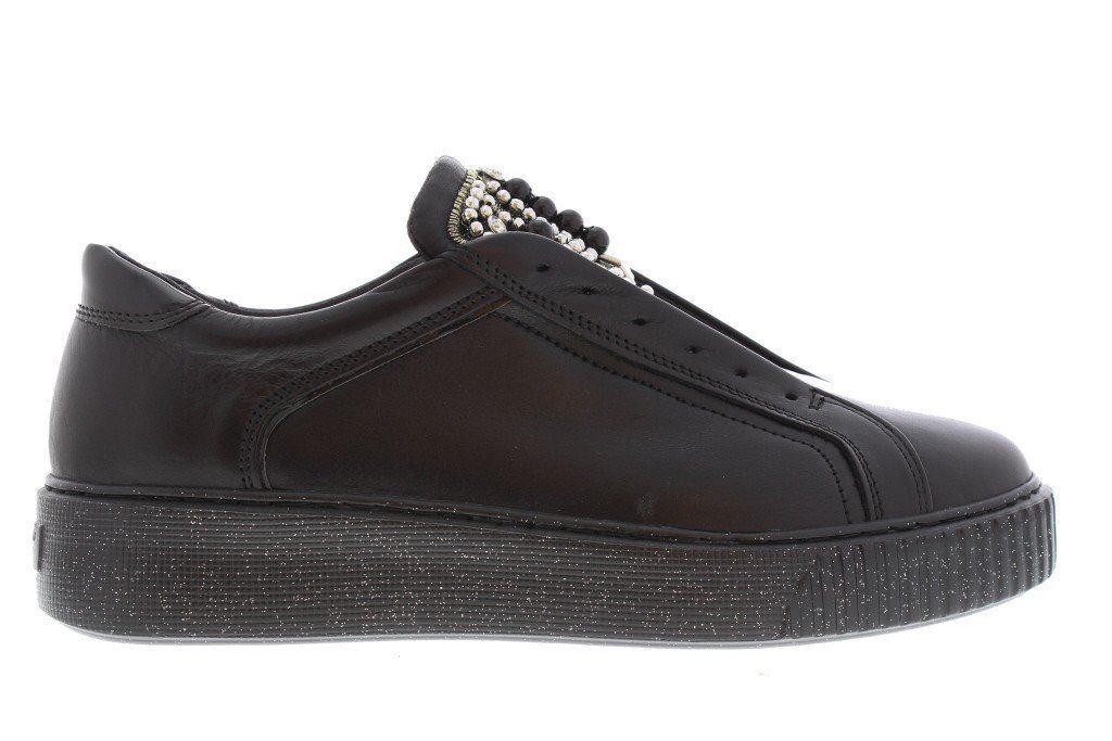 Tosca blu Scarpe impreziosite da pietre in pelle nera scarpe da ginnastica linguetta con bot
