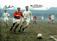 Bobby & Jack CHARLTON Signed Football 16x12 Autograph Club Photo AFTAL COA