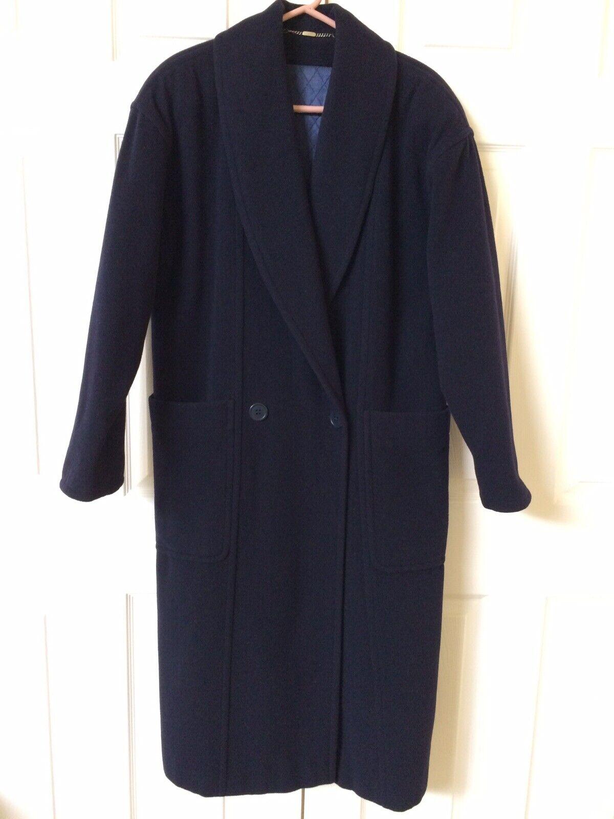 Vintage Mondi Full Length Women's Navy bluee Wool Coat Size 34