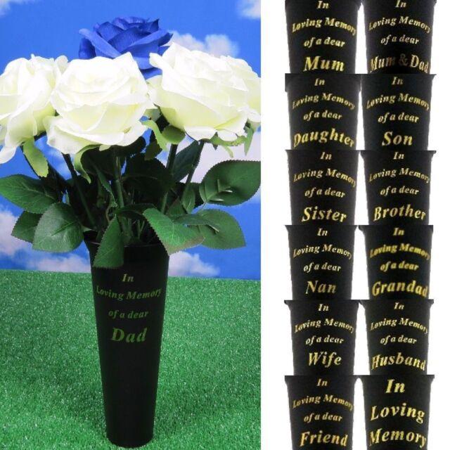 Friend In Loving Memory Spiked Flower Vases Holder Memorial Grave Black Set of 2