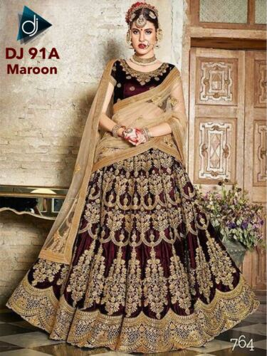 Maroon Silk Lehenga Choli Bollywood Ethnic Designer Party Indian Saree Wedding