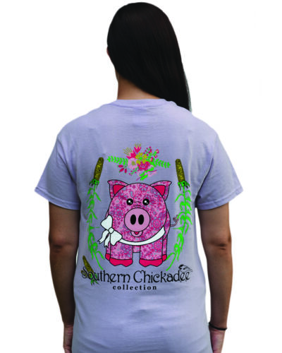 Southern Chickadee Country Pig Women/'s Short Sleeve Tee Orchid