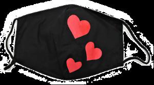 Alltagsmaske-Mundbedeckung-Nasenschutz-Behelfsmaske-Motivmaske-rote-Herzchen