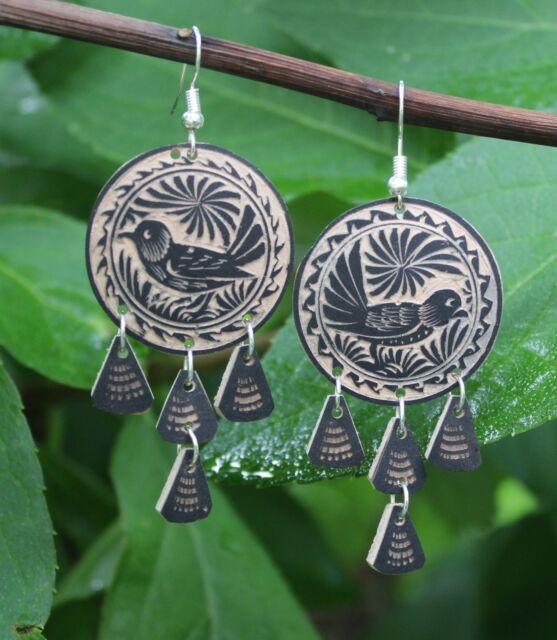 Sparrow Bird Chandelier Earrings Hand Carved Folk Art Oaxaca Mexico Boho Hippie