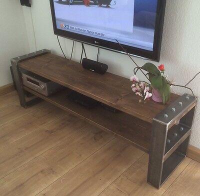 lowboard industrial design tv bank holz metall designer industrie m bel neu ebay. Black Bedroom Furniture Sets. Home Design Ideas