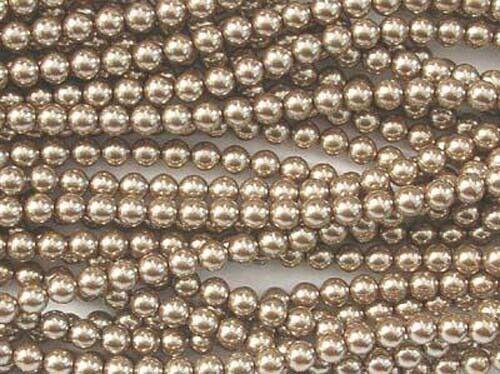 Luz de oro champán De Cristal Checo Redondo Perlas-Cadena de cuentas 75-8mm