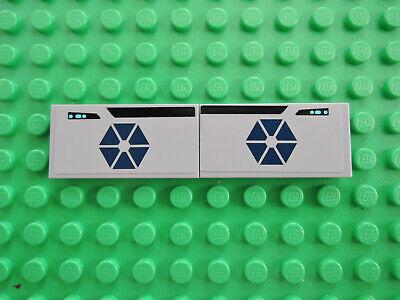 Lego 2 x Fliese 87079pb114  2x4 neu hellgrau Sticker 75013