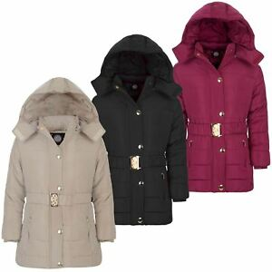 bf8cb3e30 Girls Long Belted Quilted Winter Jacket Kids Detach Hood Padded Zip ...