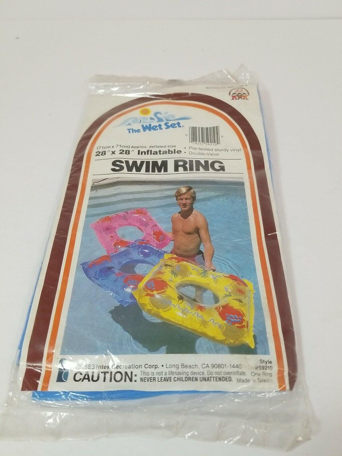 Vtg Sealed 1983 Intex The Wet Set Vinyl Inflatable Swim Ring Double Valve - Blue