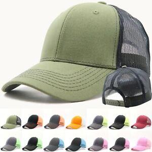 Mens-Trucker-Hat-Mesh-Baseball-Cap-Cotton-Visor-Strapback-Adjustable-Size