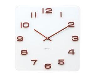 karlsson blanc vintage horloge murale cuivre chiffres verre carr r tro horloge ebay. Black Bedroom Furniture Sets. Home Design Ideas