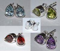 925 Sterling Silver Stud Earrings: Topaz, Peridot, Moonstone, Garnet, Amethyst