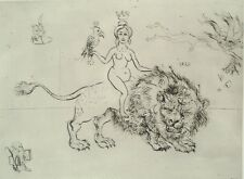 "MOREH MORDECAI, The Victory of the Woman ""Lion"", Original S&N Etching NUDE 1967"