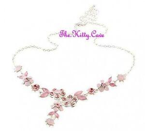 1a17728da4af9 Details about Deco Vintage Silver Rose Pink Flowers Hollywood Necklace w/  Swarovski Crystals