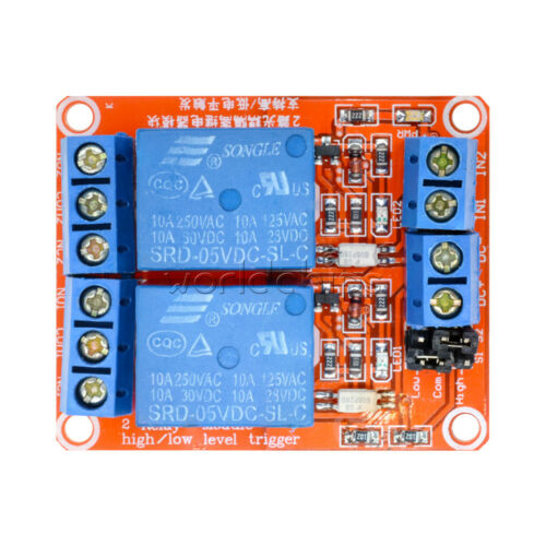 5V 2 Channel Relay Module With Optocoupler Support High and Low Level Trigger US