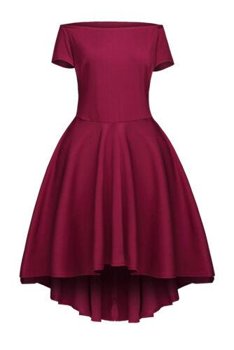 Ladies Off Shoulder Burgundy Evening Flared Swing Skater Skirt Dress 8 10 12 14