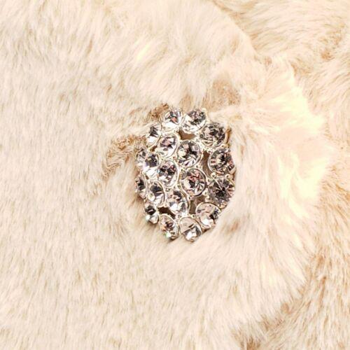 Tahari ASL Faux Fur Shrug Jacket Champagne with Rhinestone Brooch Size XL NwT