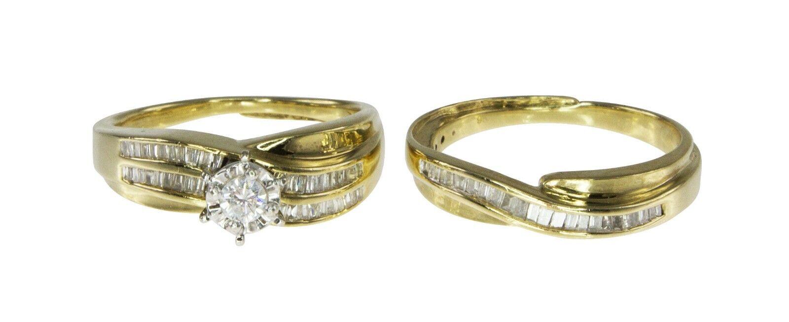 9k Yellow gold 0.75ct Diamond Engagement & Wedding 2 Ring Bridal Set Sz.N