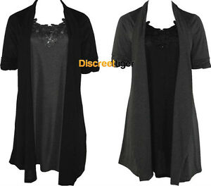 New-Ladies-Charcoal-amp-Black-Built-in-Two-Piece-Dress-Cardigan-Style-Floral-Trim