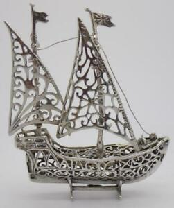 Vintage-Solid-Silver-Italian-Made-LARGE-British-Galleon-Ship-Hallmarked