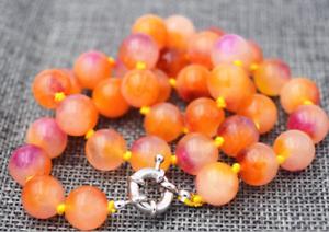 """Encantador India 10 mm Multicolor Redonda Perla Collar De Piedras Preciosas De Jade 18/"""""""