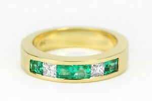 Natural-Colombian-Emerald-and-Diamond-Wedding-Band-Yellow-Gold-Mens-Ring-18K