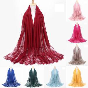 Stylish-Women-Lace-Flower-Muslim-Hijab-Shawl-Long-Scarf-Scarves-Stole-Wrap-Sight