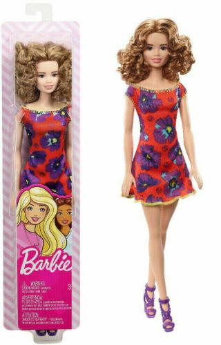 Barbie Flowered Dresses Curly Ηair Orange - Red Dress - Mattel - Brand New