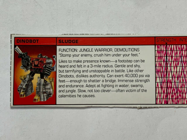 Transformers G1 Sludge Dinobot Hasbro tech spec bio card