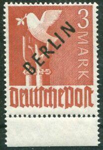 Berlin-19-sauber-postfrisch-UR-dgz-Unterrandstueck-Schwarz-Aufdruck-1948-MNH