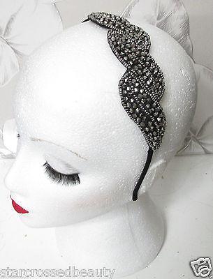 Vintage Beaded Head Piece Headband 1920s Bridal Flapper Great Gatsby Prom I06