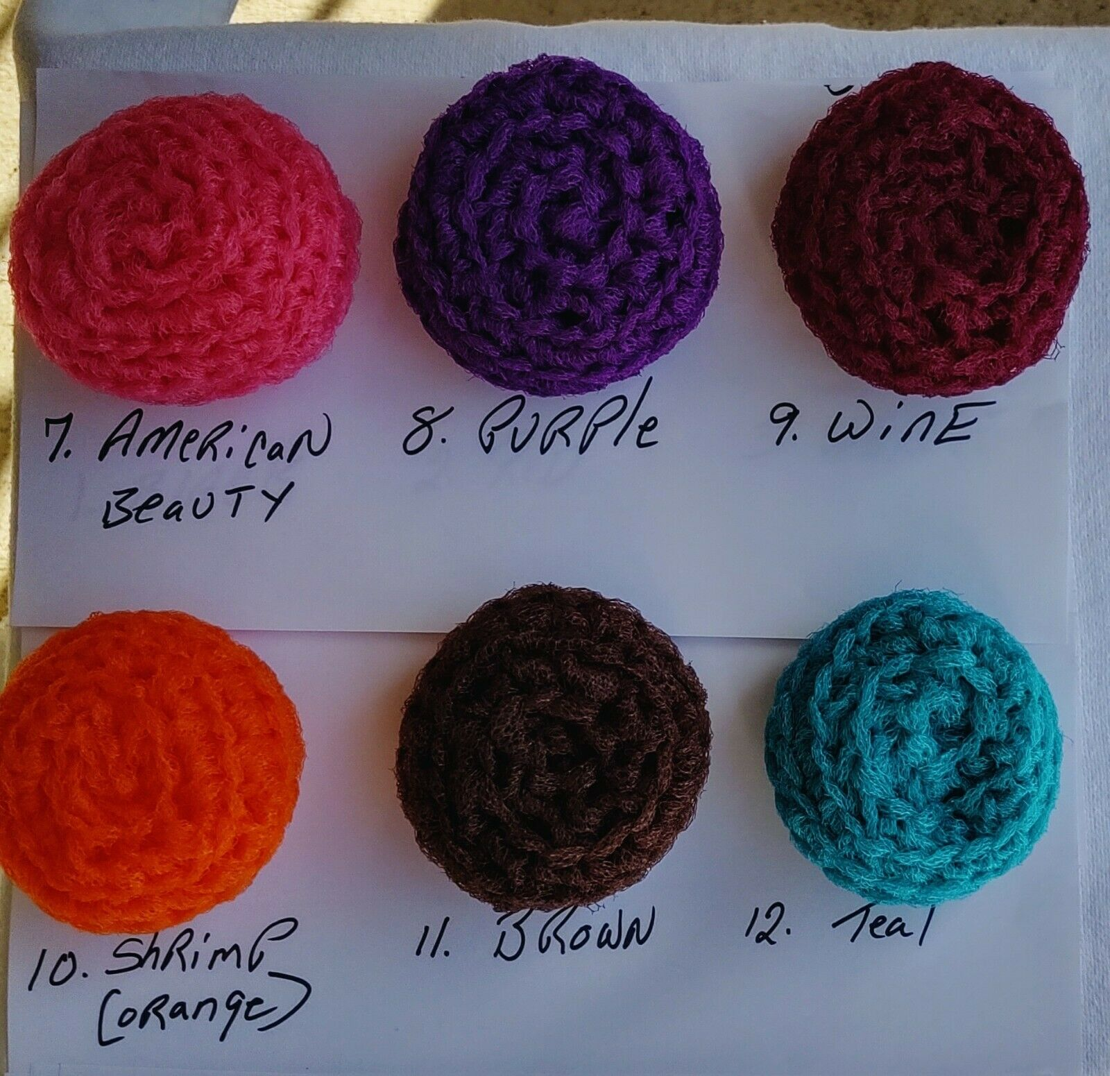 12 pack assorted colors Nylon Scrubbies Handmade Pot Scrubbers Crocheted