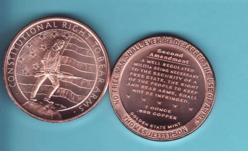 """2nd Amendment /""""RIGHT TO BEAR ARMS/""""  1 oz Copper Round coin  GSM 2018 NEW DESIGN"""