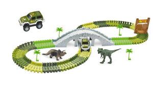 Rennbahn-Magic-Traxx-Dino-Park-mit-Bruecke-108-teilig