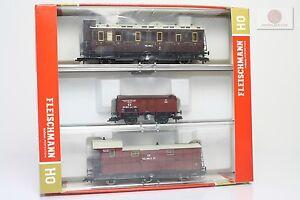 H0-1-87-Fleischmann-581208-k-Prusia-KPEV-3x-vagon-trenes-escala-ho-gauge