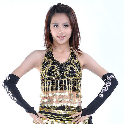 New Belly Dance Costume Sequins & Golden Coins Top Bra Blouse 10 colours