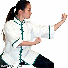White  w Green Trim Kung Fu Uniform Top Sizes 000 to 7  hot sale online