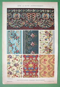 BAROQUE-Lace-Wmbroidery-Weaving-COLOR-Litho-Antique-Print