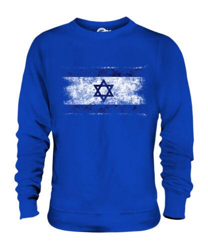 ISRAEL DISTRESSED FLAG UNISEX SWEATER TOP YISRAEL ISRAELI ISRA/'IL SHIRT FOOTBALL