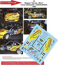 """DÉCALS 1/24 réf 14 Renault Mégane """"Gomez - Marti""""  8 ème CATALUYA 1996"""