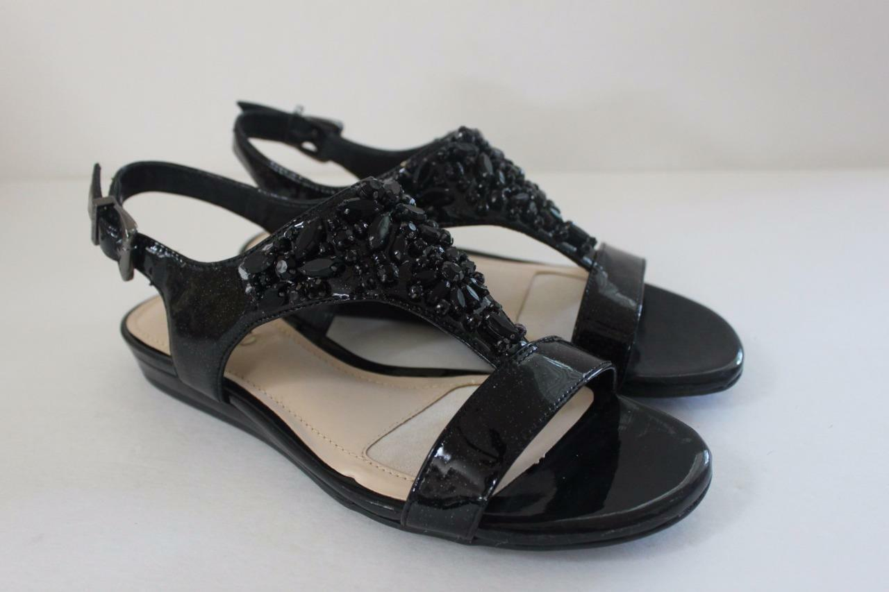 Alex Marie Size 6.5 Women's Jeweled Black Patent Leather Sparkle shoes Sandals