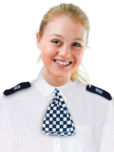 WPC Scarf /& Epaulettes Black /& White Police Firefighters Fancy Dress Acessorry