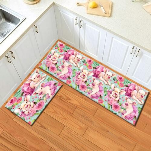Watercolor Cute Pig Floral Area Rugs Kitchen Bedroom Rug Living Room Floor Mat