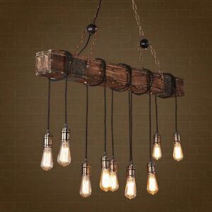 Vintage Rustic Chandelier Wood Multi