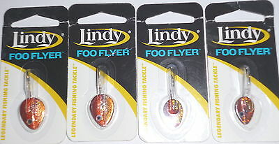 Fishing Audacious Lindy Tackle Foo Flyer 3/16 & 1/4 Ice Jigs lot Of 4-redtail