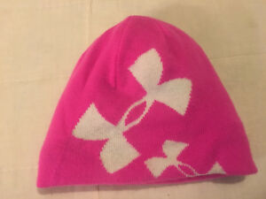 2f126692085168 Youth Girls Pink Under Armour One Size Reversible Acrylic Beanie ...