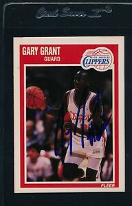 1989/90 Fleer #70 Gary Grant LA Clippers Signed Auto *54084